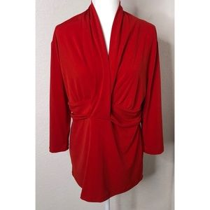 NWT Red New York & Company XL Drape Front Top